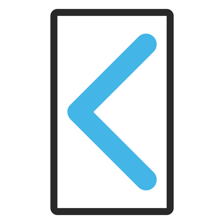 redirect: Direction Left glyph icon. Image style is a flat bicolor icon symbol inside a rounded rectangular frame, blue and gray colors, white background.