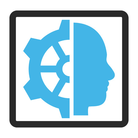 robo: Cyborg Gear glyph icon. Image style is a flat bicolor icon symbol inside a rounded rectangle, blue and gray colors, white background.
