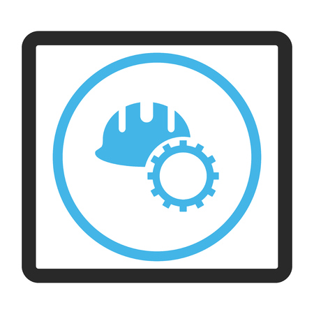 rounded rectangle: Development Hardhat glyph icon. Image style is a flat bicolor icon symbol inside a rounded rectangle, blue and gray colors, white background.