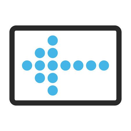 rounded rectangle: Dotted Arrow Left glyph icon. Image style is a flat bicolor icon symbol inside a rounded rectangle, blue and gray colors, white background. Stock Photo