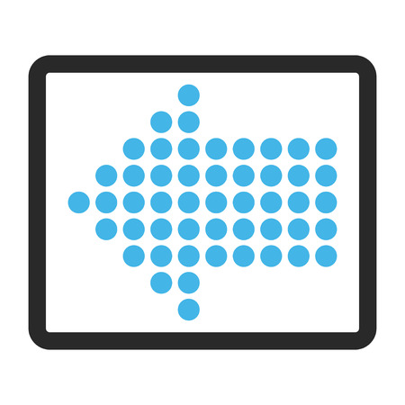 frame less: Dotted Arrow Left glyph icon. Image style is a flat bicolor icon symbol inside a rounded rectangle, blue and gray colors, white background. Stock Photo