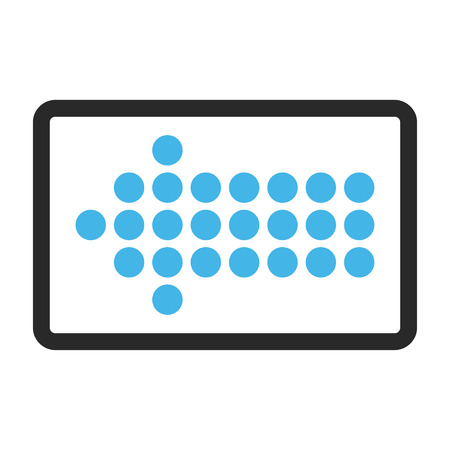 frame less: Dotted Arrow Left glyph icon. Image style is a flat bicolor icon symbol in a rounded rectangle, blue and gray colors, white background.