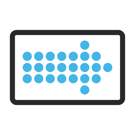 propel: Dotted Arrow Right glyph icon. Image style is a flat bicolor icon symbol inside a rounded rectangle, blue and gray colors, white background.