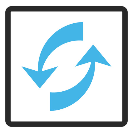 rounded rectangle: Exchange Arrows glyph icon. Image style is a flat bicolor icon symbol in a rounded rectangle, blue and gray colors, white background.