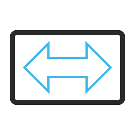 inverse: Exchange Horizontal glyph icon. Image style is a flat bicolor icon symbol inside a rounded rectangle, blue and gray colors, white background. Stock Photo