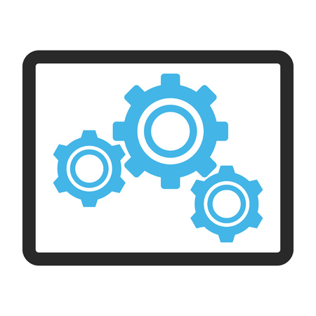 config: Gears glyph icon. Image style is a flat bicolor icon symbol in a rounded rectangular frame, blue and gray colors, white background. Stock Photo