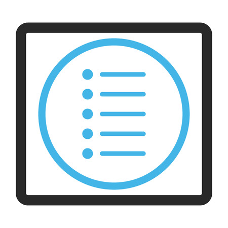 nomenclature: Items glyph icon. Image style is a flat bicolor icon symbol inside a rounded rectangle, blue and gray colors, white background.