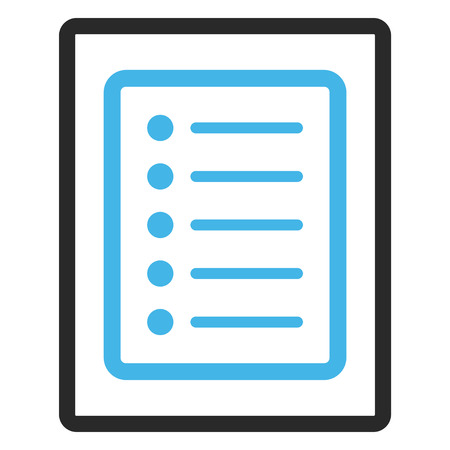 todo: List Page glyph icon. Image style is a flat bicolor icon symbol inside a rounded rectangle, blue and gray colors, white background. Stock Photo
