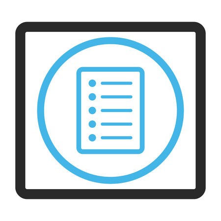 paper sheets: List Page glyph icon. Image style is a flat bicolor icon symbol inside a rounded rectangle, blue and gray colors, white background. Stock Photo