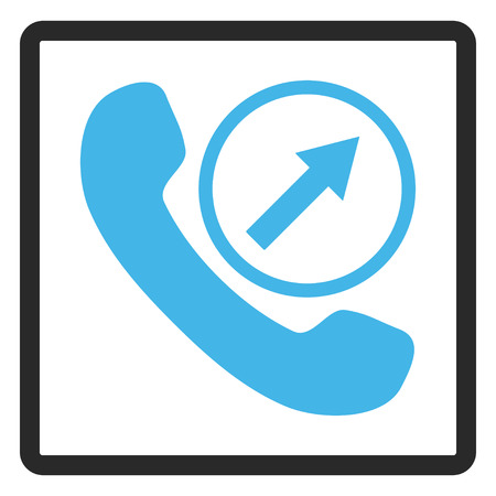outgoing: Outgoing Call glyph icon. Image style is a flat bicolor icon symbol in a rounded rectangle, blue and gray colors, white background. Stock Photo