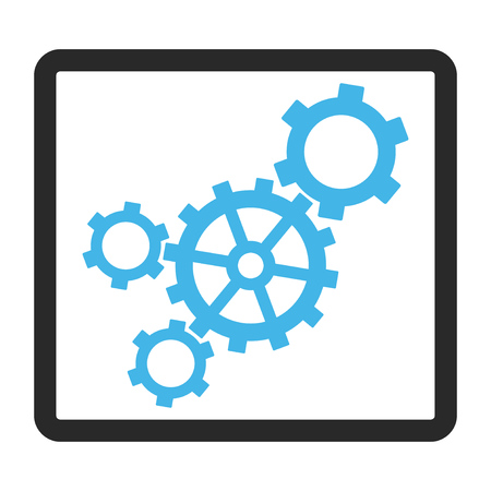 rounded rectangle: Mechanism glyph icon. Image style is a flat bicolor icon symbol in a rounded rectangle, blue and gray colors, white background.