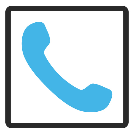 phone receiver: Phone Receiver glyph icon. Image style is a flat bicolor icon symbol inside a rounded rectangular frame, blue and gray colors, white background.