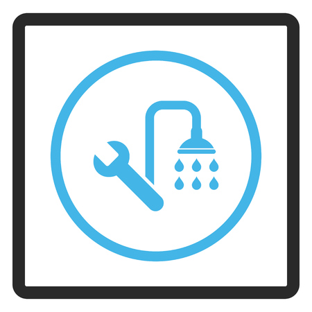 rounded rectangle: Plumbing glyph icon. Image style is a flat bicolor icon symbol in a rounded rectangle, blue and gray colors, white background.