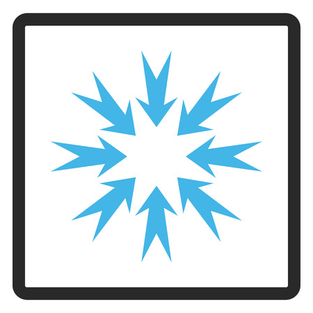 rounded rectangle: Pressure Arrows glyph icon. Image style is a flat bicolor icon symbol inside a rounded rectangle, blue and gray colors, white background.