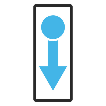 rounded rectangle: Pull Down glyph icon. Image style is a flat bicolor icon symbol in a rounded rectangle, blue and gray colors, white background.