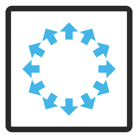 outwards: Radial Arrows glyph icon. Image style is a flat bicolor icon symbol inside a rounded rectangle, blue and gray colors, white background. Stock Photo