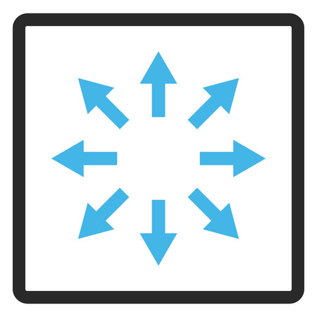 Radial Arrows glyph icon. Image style is a flat bicolor icon symbol in a rounded rectangular frame, blue and gray colors, white background.