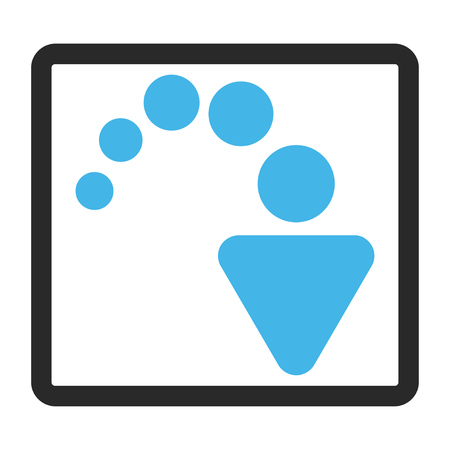 redo: Redo glyph icon. Image style is a flat bicolor icon symbol in a rounded rectangle, blue and gray colors, white background.
