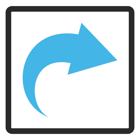 redo: Redo glyph icon. Image style is a flat bicolor icon symbol inside a rounded rectangle, blue and gray colors, white background.