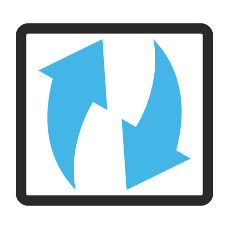 rounded rectangle: Refresh glyph icon. Image style is a flat bicolor icon symbol inside a rounded rectangle, blue and gray colors, white background. Stock Photo