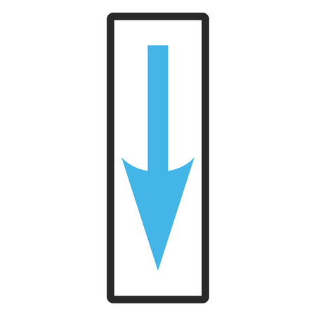 rounded rectangle: Sharp Arrow Down glyph icon. Image style is a flat bicolor icon symbol inside a rounded rectangle, blue and gray colors, white background. Stock Photo