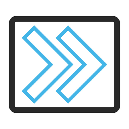 propel: Shift Right glyph icon. Image style is a flat bicolor icon symbol in a rounded rectangular frame, blue and gray colors, white background. Stock Photo