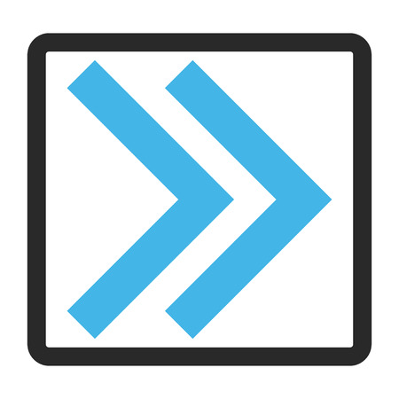 propel: Shift Right glyph icon. Image style is a flat bicolor icon symbol inside a rounded rectangle, blue and gray colors, white background.