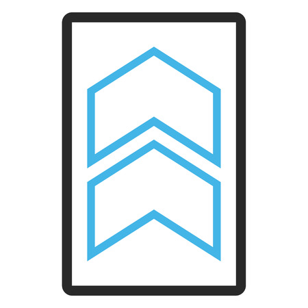 rounded rectangle: Shift Up glyph icon. Image style is a flat bicolor icon symbol in a rounded rectangle, blue and gray colors, white background. Stock Photo