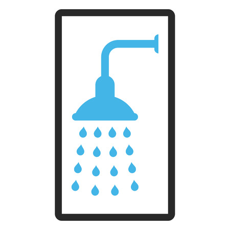 rounded rectangle: Shower glyph icon. Image style is a flat bicolor icon symbol inside a rounded rectangle, blue and gray colors, white background.