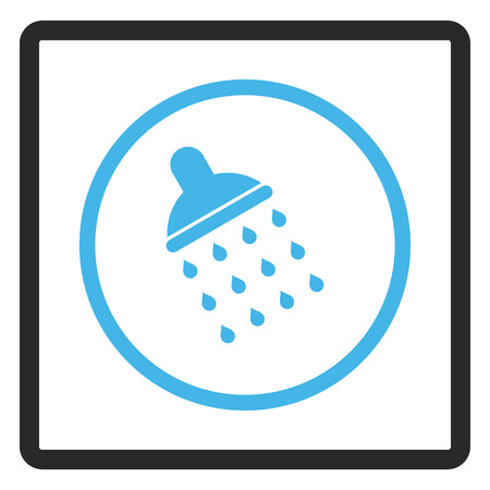 sterilize: Shower glyph icon. Image style is a flat bicolor icon symbol inside a rounded rectangle, blue and gray colors, white background.
