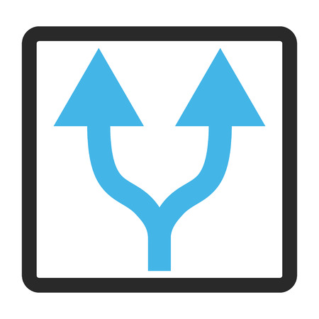 vertical divider: Split Arrows Up glyph icon. Image style is a flat bicolor icon symbol in a rounded rectangle, blue and gray colors, white background. Stock Photo