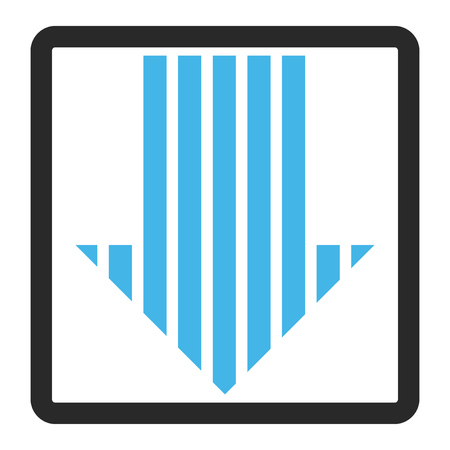 rounded rectangle: Stripe Arrow Down glyph icon. Image style is a flat bicolor icon symbol in a rounded rectangle, blue and gray colors, white background. Stock Photo