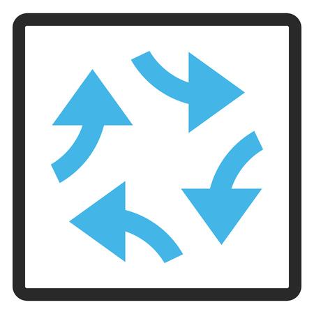 cíclico: Icono del glifo de las flechas del remolino. El estilo de la imagen es un símbolo bicolor plano del icono dentro de un marco rectangular redondeado, colores azules y grises, fondo blanco. Foto de archivo
