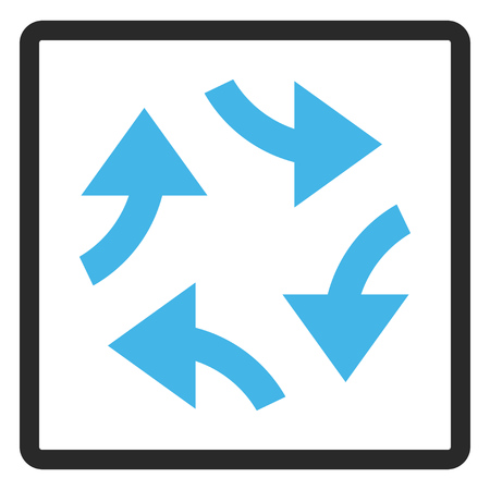renew.: Swirl Arrows glyph icon. Image style is a flat bicolor icon symbol inside a rounded rectangular frame, blue and gray colors, white background.