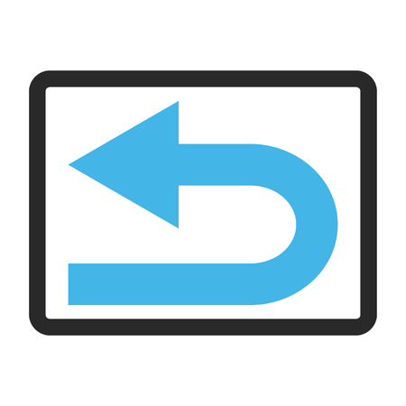 rounded rectangle: Turn Left glyph icon. Image style is a flat bicolor icon symbol inside a rounded rectangle, blue and gray colors, white background. Stock Photo