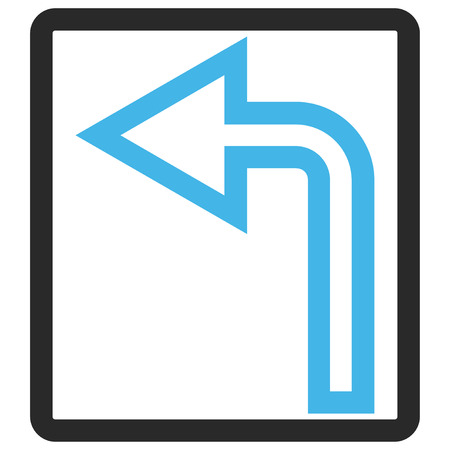 rounded rectangle: Turn Left glyph icon. Image style is a flat bicolor icon symbol in a rounded rectangle, blue and gray colors, white background.
