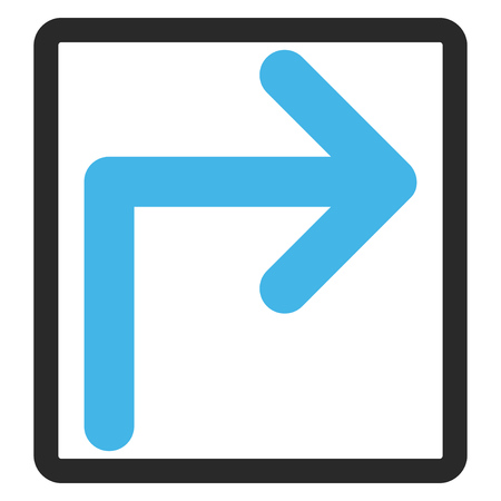 rounded rectangle: Turn Right glyph icon. Image style is a flat bicolor icon symbol in a rounded rectangle, blue and gray colors, white background.