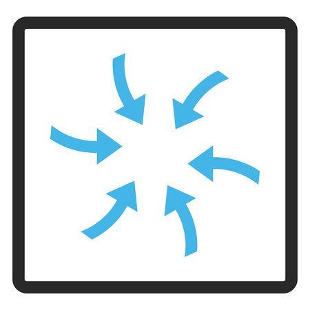 Twirl Arrows glyph icon. Image style is a flat bicolor icon symbol in a rounded rectangle, blue and gray colors, white background. Stock Photo