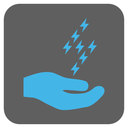enforce: Electric Energy Offer Hand glyph icon. Image style is a flat icon symbol in a rounded square button, light blue and gray colors.