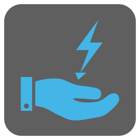 enforce: Electricity Supply Hand glyph icon. Image style is a flat icon symbol inside a rounded square button, light blue and gray colors.
