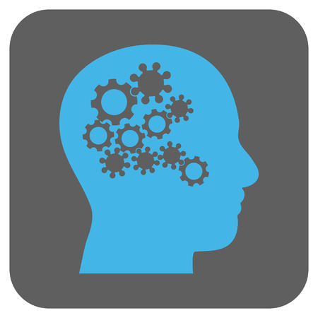 robo: Human Mind Gears glyph icon. Image style is a flat icon symbol inside a rounded square button, light blue and gray colors.