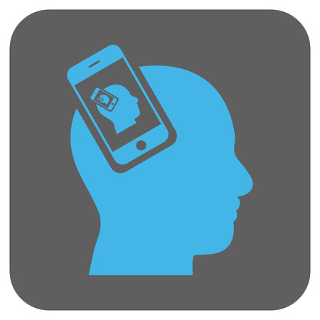 recursive: Smartphone Head Plugin Recursion glyph icon. Image style is a flat icon symbol in a rounded square button, light blue and gray colors. Stock Photo