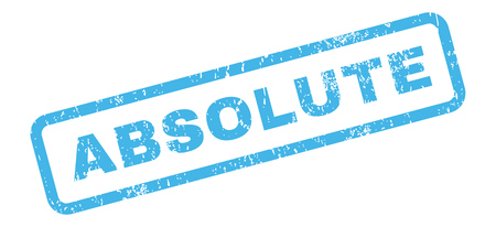 absolute: Absolute Text rubber seal stamp watermark. Tag inside rectangular banner with grunge design and dirty texture. Slanted glyph blue ink sticker on a white background.