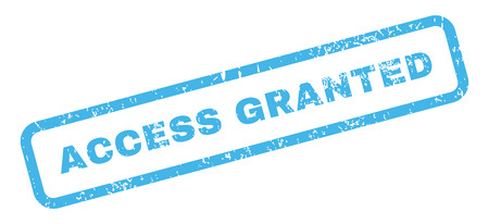 granted: Access Granted Text rubber seal stamp watermark. Caption inside rectangular shape with grunge design and unclean texture. Slanted glyph blue ink emblem on a white background.