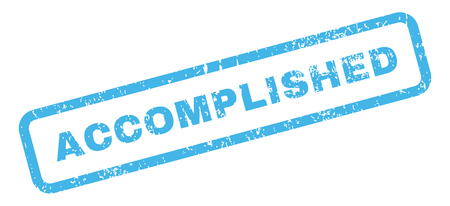 accomplish: Accomplished Text rubber seal stamp watermark. Tag inside rectangular banner with grunge design and unclean texture. Slanted glyph blue ink emblem on a white background.