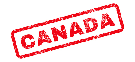 Canada Text rubber seal stamp watermark. Caption inside rectangular banner with grunge design and scratched texture. Slanted vector red ink emblem on a white background.
