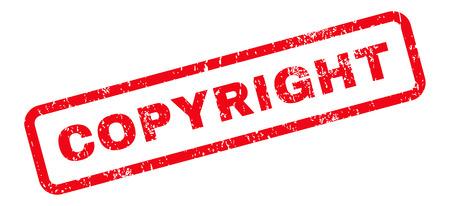 Copyright Text rubber seal stamp watermark. Etiqueta dentro de banner rectangular con diseño grunge y textura sucia. Etiqueta inclinada de la tinta roja del vector en un fondo blanco.