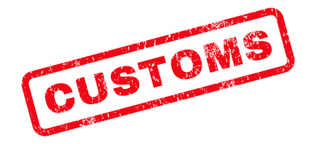 customs: Customs Text rubber seal stamp watermark. Caption inside rectangular shape with grunge design and scratched texture. Slanted vector red ink sign on a white background.