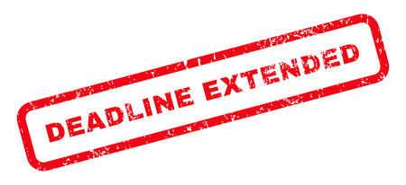 Deadline Extended Text rubber seal stamp watermark. Tag inside rectangular banner with grunge design and scratched texture. Slanted vector red ink emblem on a white background. Stock Illustratie