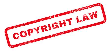 Ley de derechos de autor Text rubber seal stamp watermark. Etiqueta dentro de banner rectangular con diseño grunge y textura de polvo. Inclinado vector tinta roja emblema sobre un fondo blanco. Ilustración de vector